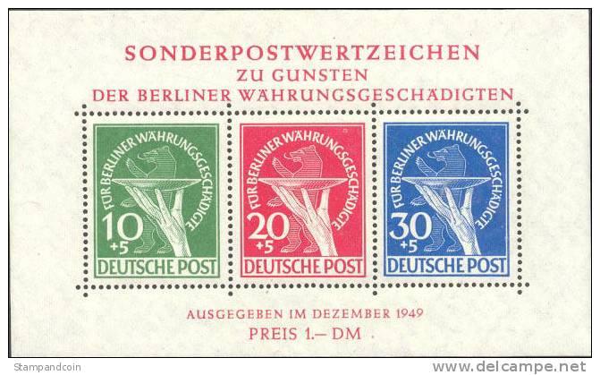 Germany Berlin 9NB3a Mint Never Hinged Souvenir Sheet From 1949 - Blocks & Sheetlets