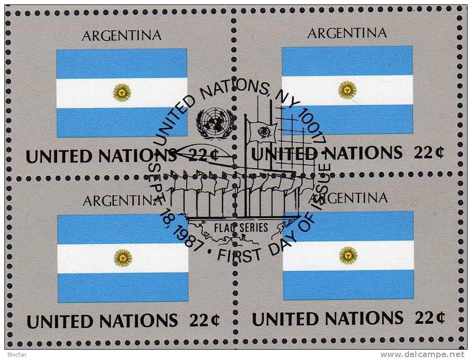 UNO Flaggen VIII 1987 ARGENTINA New York 532,4-Block+ Kleinbogen O 16€ Flagge Bf Foglietto Bloc Flag Sheetlet Of America - Altri