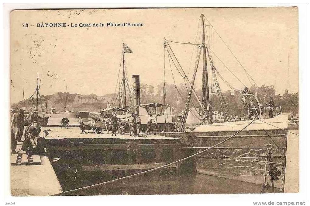 BAYONNE Le Quai De La Place D'Armes (Bâteaux, 1908) - Bayonne