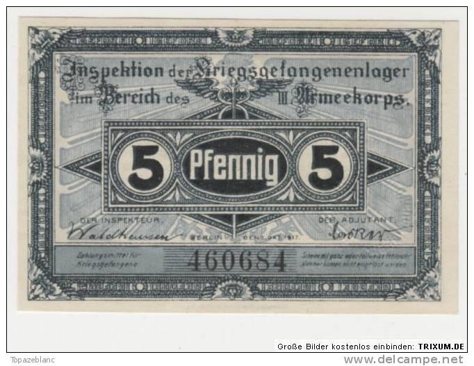 NOTGELD BRANDENBURG KGL - 5 PFENNIG 1917 / POW CAMP - ARMEEKORPS - [11] Local Banknote Issues