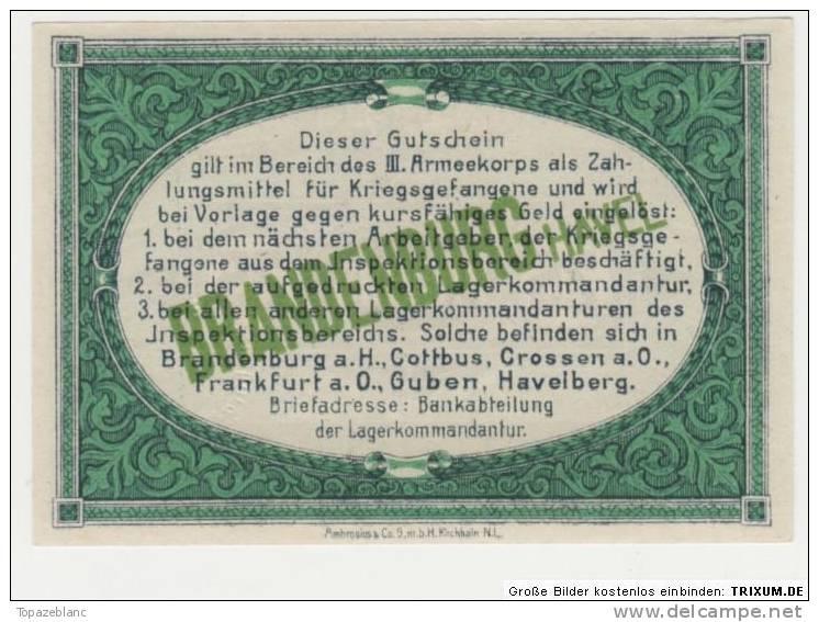 NOTGELD BRANDENBURG KGL - 25 PFENNIG 1917 / POW CAMP - ARMEEKORPS - [11] Lokale Uitgaven
