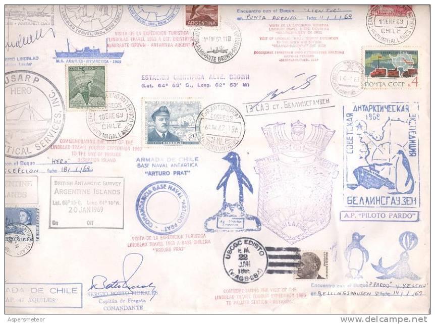 CAMPAÑA ANTARTICA 1969 RARISIMO SOBRE CON MUCHISIMOS MATASELLOS GREAT BRITAIN RUSSIA CHILI  ARGENTINE USA U.S.A. - British Antarctic Territory  (BAT)