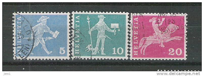 Zwitserland 1960 Y&T Nr° 643,44,46(°) - Oblitérés