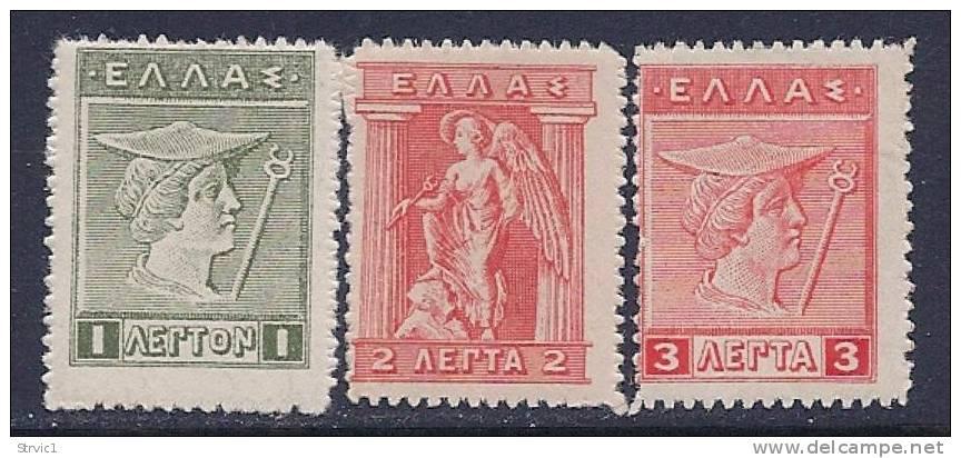 Greece, Scott # 214-6 Mint Hinged Part Set Hermes, Iris, 1913 - Greece