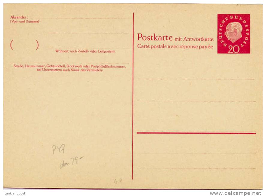 BRD Postal Stationary Card + Replycard Michel Nr. P40 Unused - Zonder Classificatie