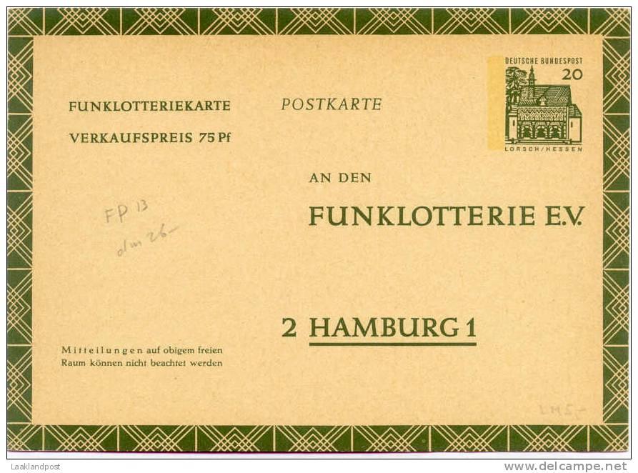 BRD Postal Stationary Funklotterie Michel Nr. FP12a Unused - Zonder Classificatie
