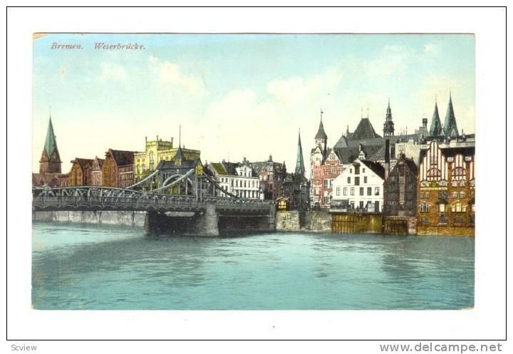 Bridge, Weserbrucke, Bremen (Bremen), Germany, 1900-1910s - Bremen