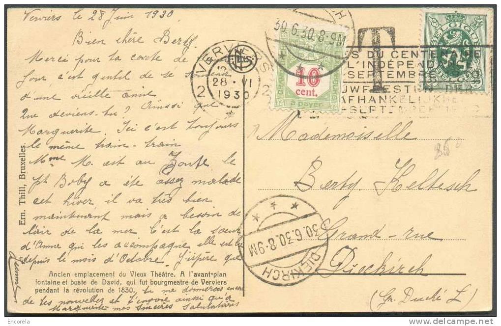 Belgique 35 C. Lion Obl. Mécanique VERVIERS 2 S/C.P. Du 28-VI-1930 Vers Diekirch Et Taxée 10 Centimes + Griffe 'T' - 533 - Postage Due