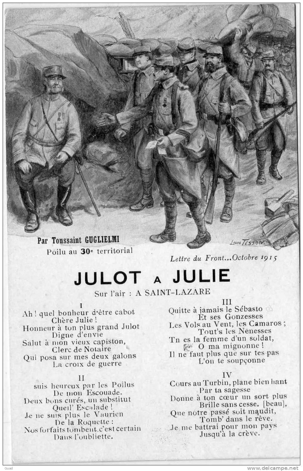JULOT A JULIE - CHANSON - Guerra 1914-18