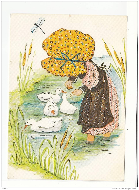 Collection MD Paris - Série N°  5298    4/4  -  Fillette  Donnant à Manger Aux Oies  Dans La Mare - Contemporain (à Partir De 1950)