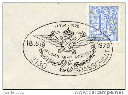 Cover Special Pict. Handstamp BELGIAN ARMY AVIATATION 1954-1979, Brasschaat 18-5-1979 - Transportmiddelen