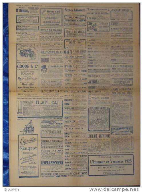 -L´Humour-journal Amusant-Annonces Coquines-Illustrations-N°454-1925- - Unclassified