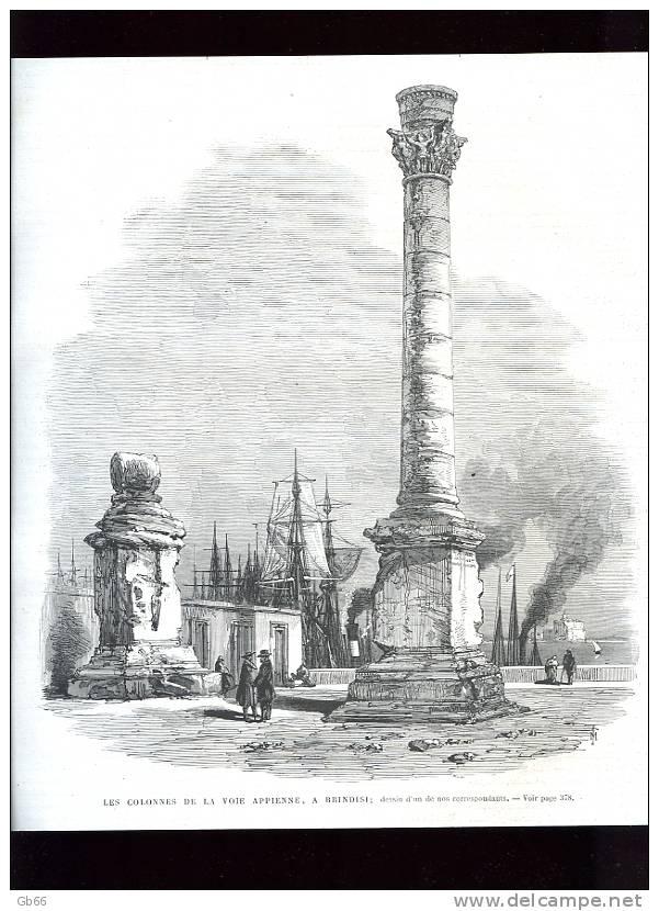 Italie, Colonnes De La Voie Appienne à Brindisi                   Gravure      1869 - Old Paper