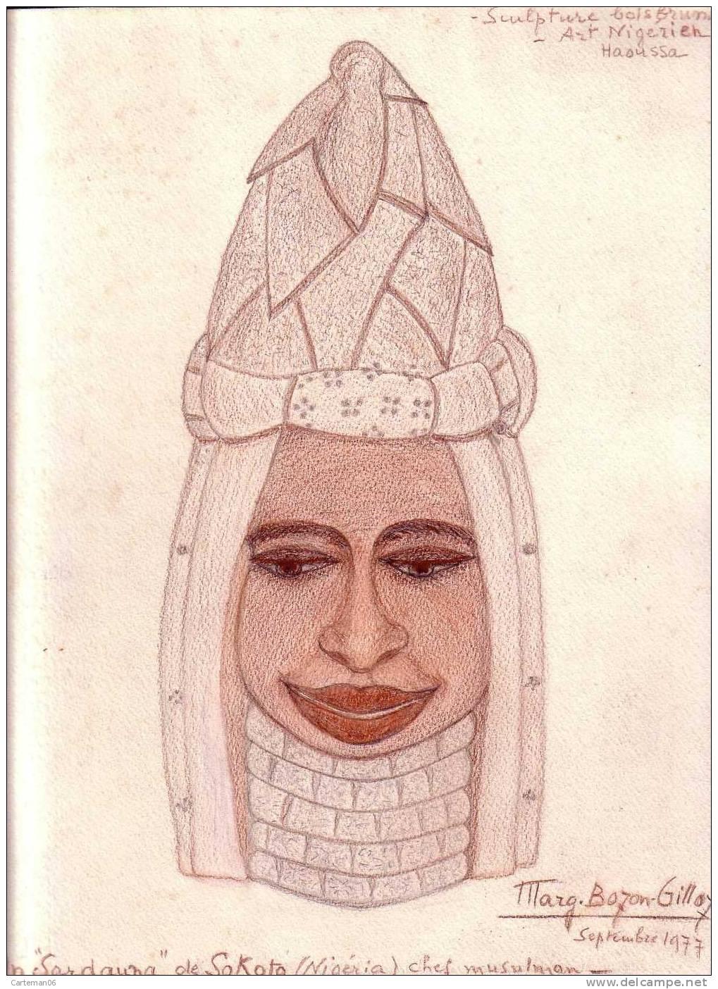 "Dessin Original De Marg. Bozon-Gilloz - Un ""Sardauma"" De Sokoto (Nigéria) Chef Musulman - Art Africain"