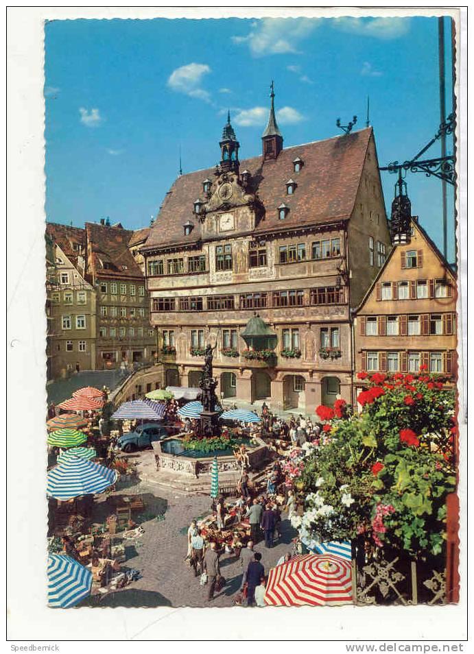 15884 TUBINGEN Am Neckar. MARKPLATZ Mit Rathaus . 732.10 Kruger Marché . Militaire Français Allemagne Hirel - Tuebingen