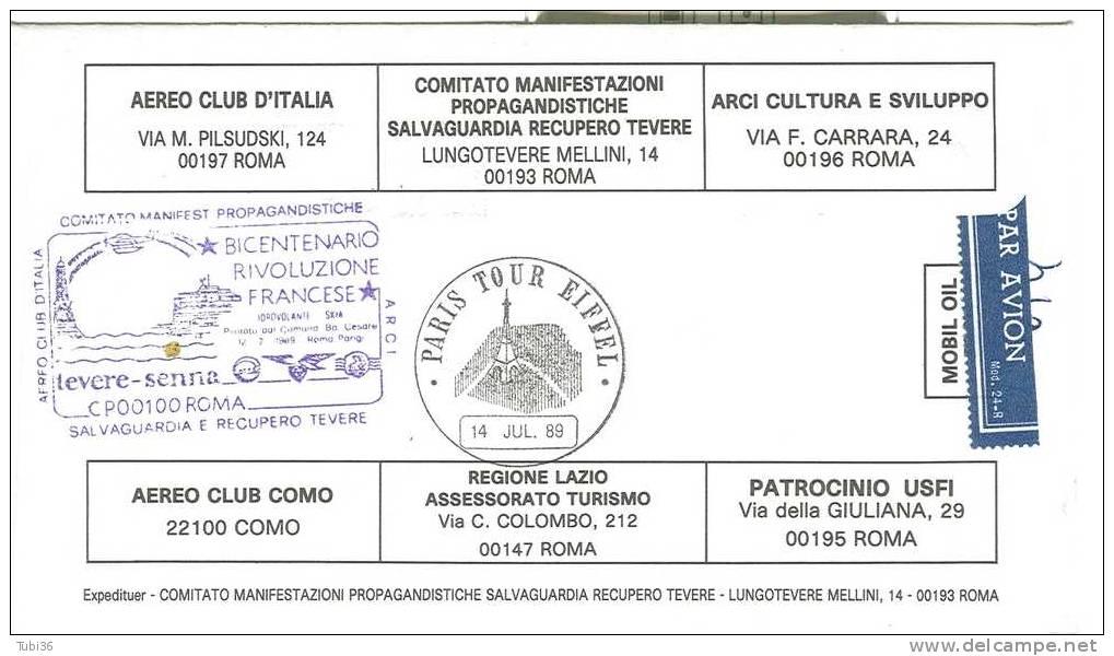 BICENTENARIO RIVOLUZIONE FRANCESE - GEMELLAGGIO  ROMA/TEVERE - PARIGI/SENNA - 1989 - ANNULLO FIGURATO SU BUSTA  DEDICATA - 6. 1946-.. Repubblica