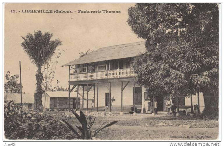 Libreville Gabon, Factorerie Thomas Factory, Early Colonial Manufacturing, On C1900s/10 Vintage Postcard - Gabon