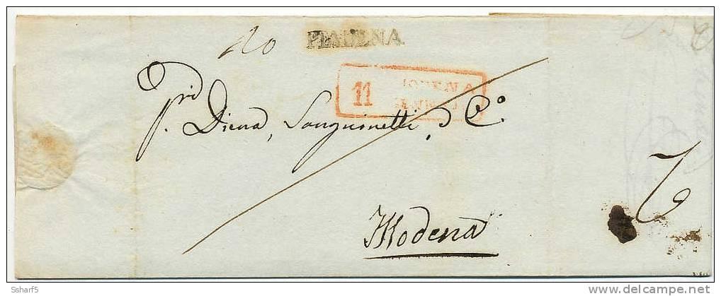 PIADENA [nero] 1837 => MODENA [rosso] - Italien