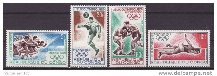 CONGO 1968 Sc#C72-C75 Olympic Games Mexico City, Complete Set MH - Sommer 1968: Mexico
