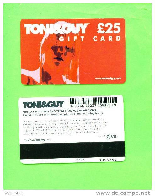 UK - Magnetic Gift Card/Tony & Guy £25 - Unclassified