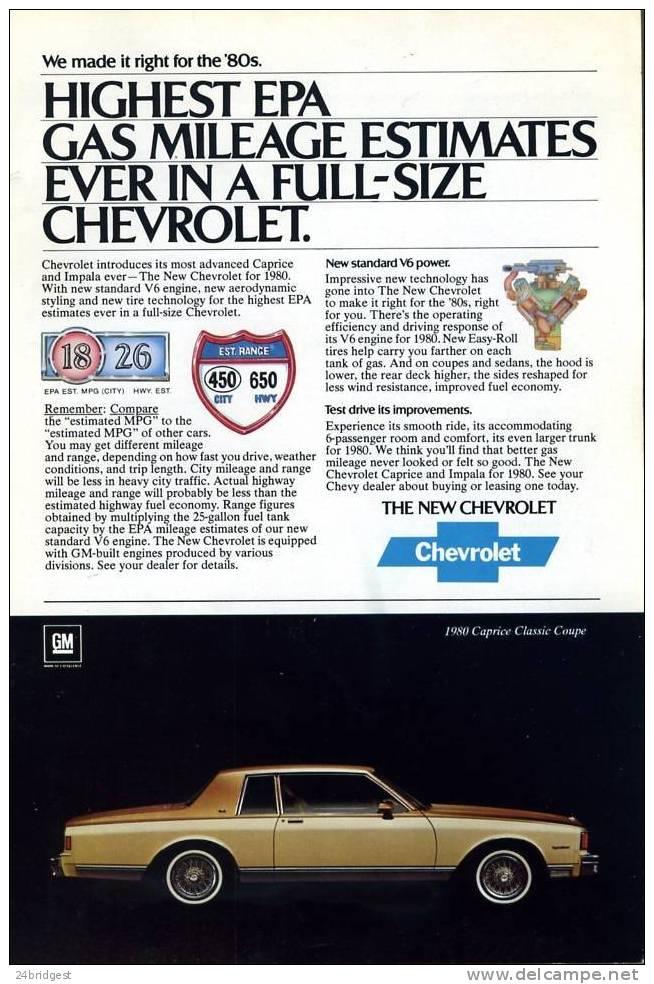 Chevrolet Caprice Impala Advert 1980 - Cars