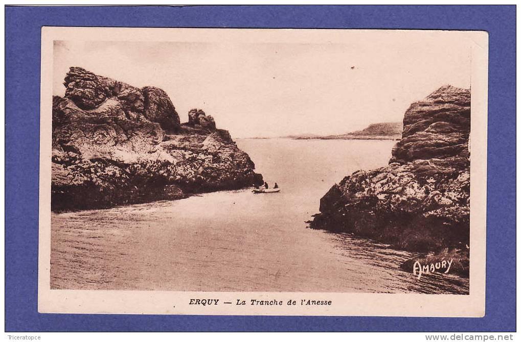 U1138)   ERQUY  Tranche De L'anesse 3 Gars En Barque  ( TTB état) - Erquy