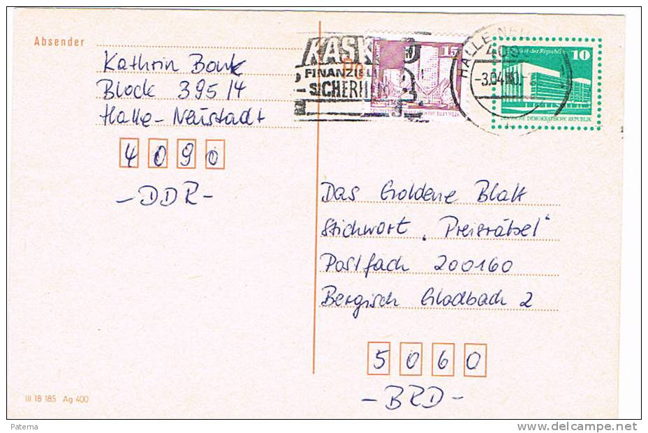Entero Postal, HALLE - NEUSTADT ( Alemania)1980 ,  Entier Postal, - [6] República Democrática