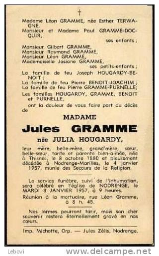 Souvenir Mortuaire HOUGARDY Julia ép.GRAMME, J. (1880-1957) Née à THINES Morte à NODRENGE-MARILLES - Images Religieuses