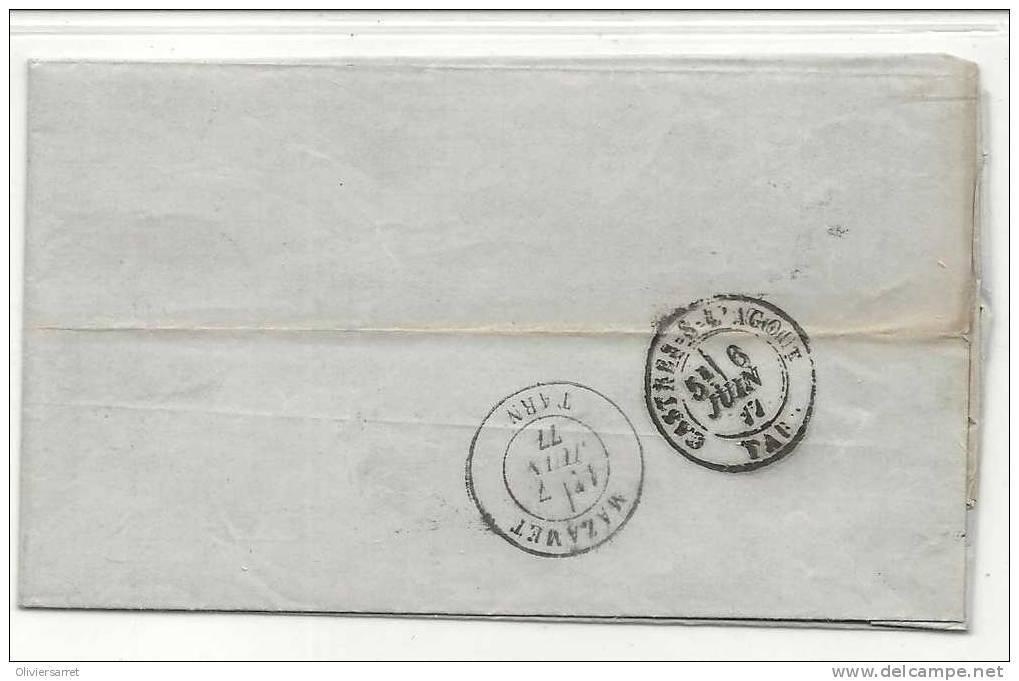 Type Sage 25cts Bleu Revel 6.6.1877 Au Dos Mazamet - Francia