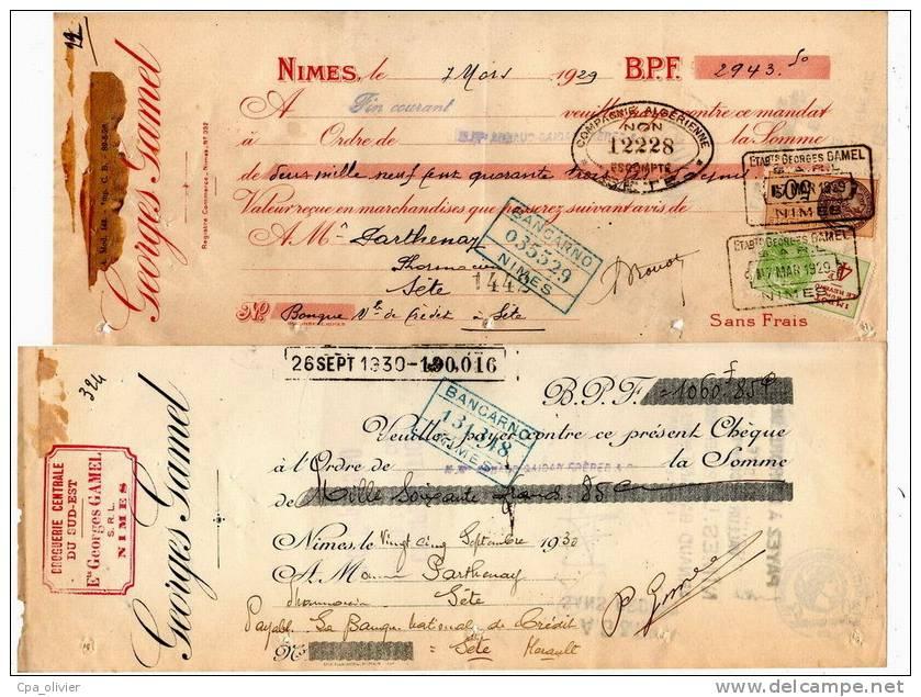 TRAITE 30 Nimes, Droguerie Centrale Du Sud Est, Gamel Georges, 1929, 1930, Lettre De Change, Mandat, Timbre Fiscal - Bills Of Exchange