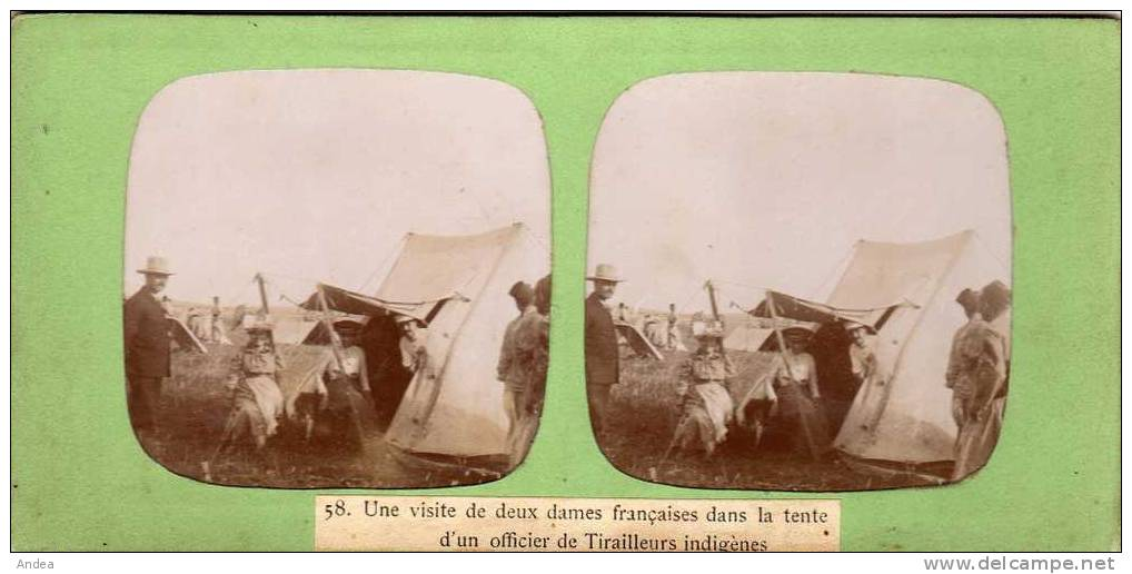 TUNISIE .VISITE DE 2 DAMES FRANCAISES DANS LA TENTE D'1 OFFICIER DE TIRAILLEURS  INDIGENES PHOTO STEREO  .. PRIX: 2,49 € - Photos Stéréoscopiques