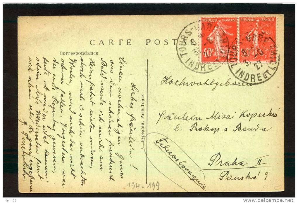 =*= Semeuse 194+199 Sur Carte Au Tarif Tours-gare>>>>Tchécoslova Quie 31 Mai 1927 =*= - Covers & Documents