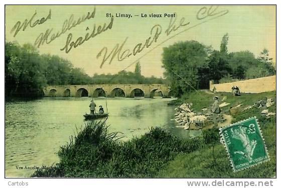 78 LIMAY Le Vieux Pont (pêcheurs) - Limay