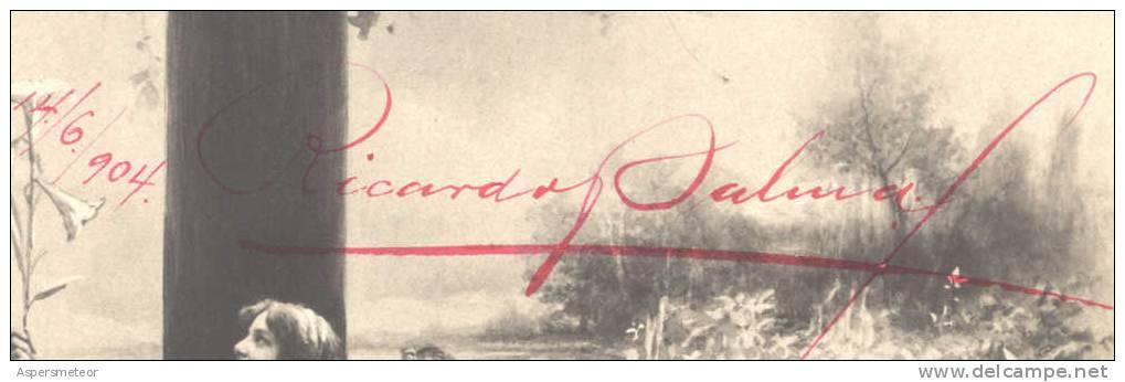 """""""ESCRIBO BAJO EL CIELO BRUMOSO DE LA TARDE MIRANDO AL HORIZONTE QUE VISTE DE RUBI, Y AUNQUE HOY EN MI CEREBRO LA LUZ D - Handtekening"""