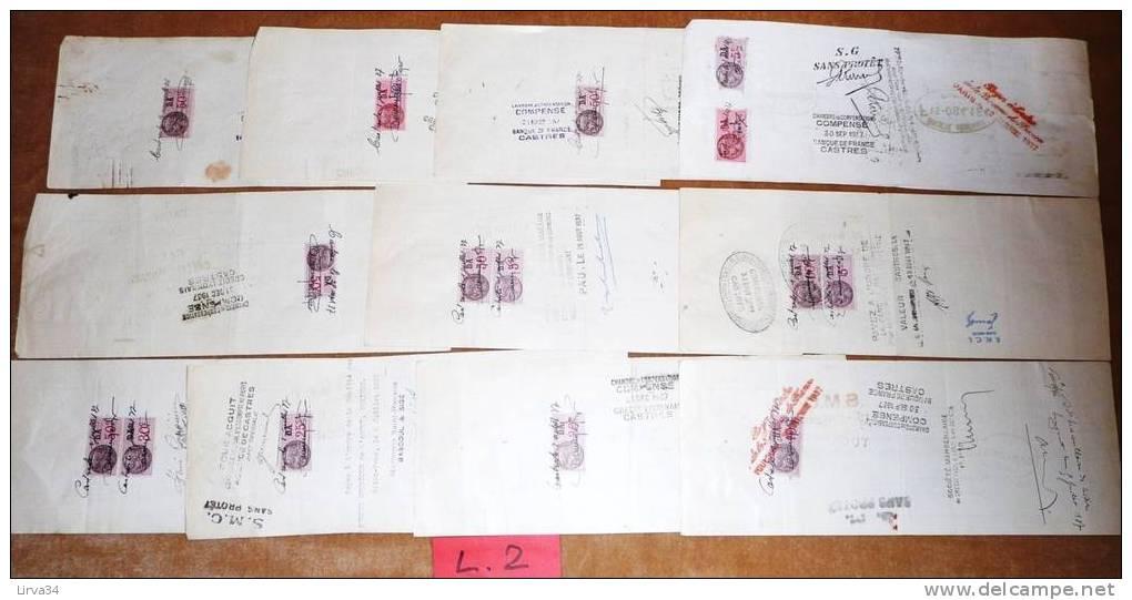 LOT 14 LETTRES DE CHANGE ANCIENNES AVEC FISCAUX- NOMBREUX TIMBRES FISCAUX- VOIR SCAN VERSO- - Bills Of Exchange