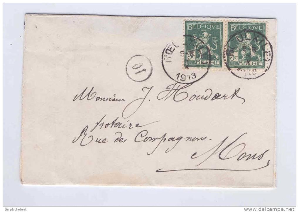 Enveloppe TP 110 X 2 LE ROEULX 1913 Vers Notaire Houdart à MONS  -- B3/581 - 1912 Pellens