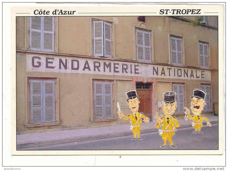 16054 Saint Tropez, Gendarmerie Nationale . Film Funes . LT As De Coeur Pec.  Dessin Triay - Uniformes