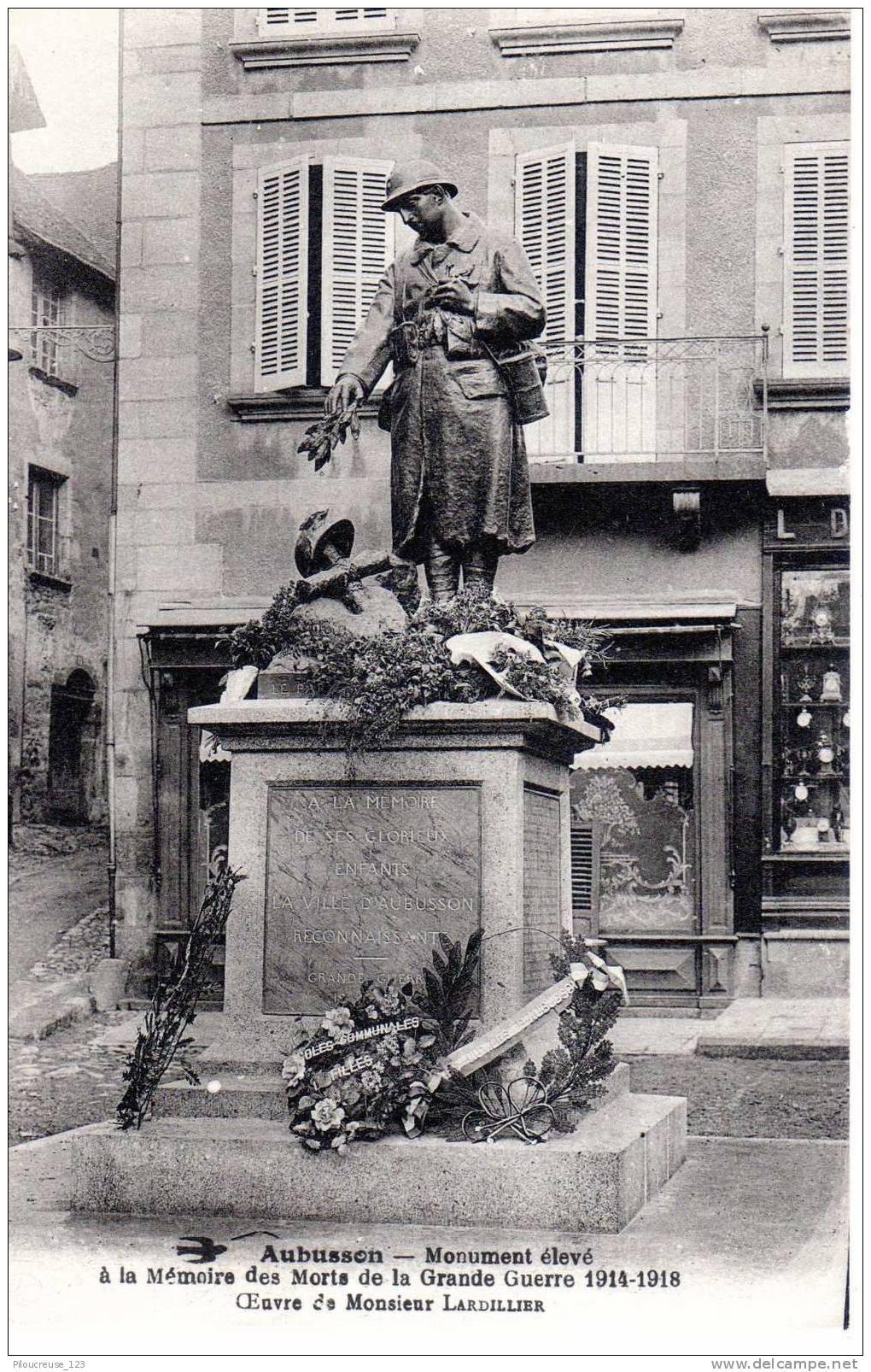 """23 - AUBUSSON -Collection Monuments Aux Morts Creuse- """"Monument Aux Morts De La Grande Guerre 1914/1918"""" - Aubusson"""
