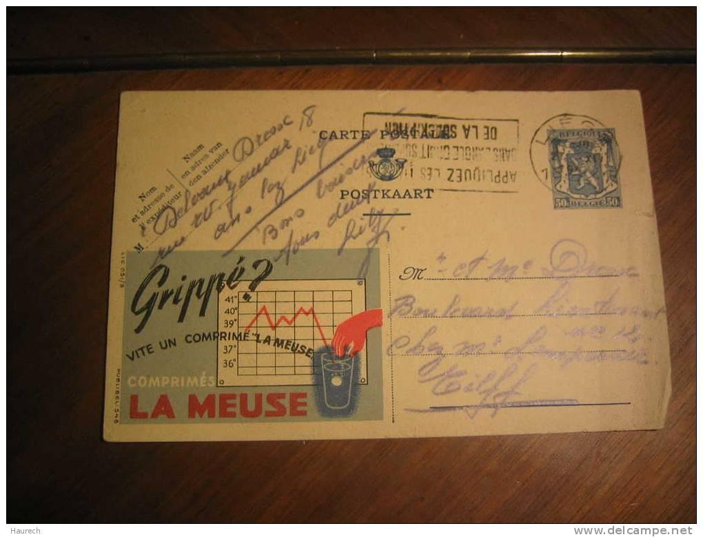 Grippé ? Vite Un Comprimé La Meuse. 1944 - Enteros Postales