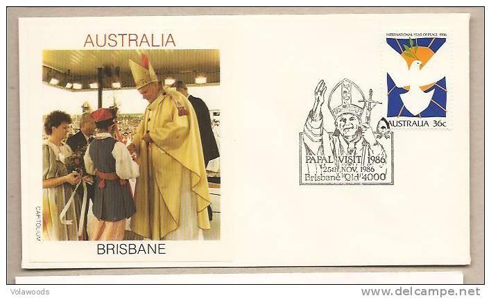 Australia - Busta Con Annullo Speciale: Visita Di S.S. Giovanni Paolo II° - 1986 - Popes