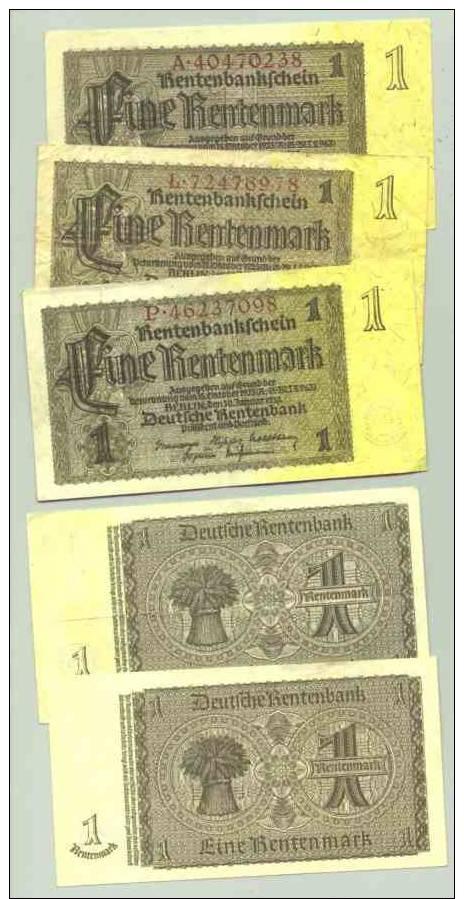 (1028152) Banknoten : 5 X 1 Rentenmark, Berlin 1937. Deutsches Reich. Geldscheine - Ohne Zuordnung