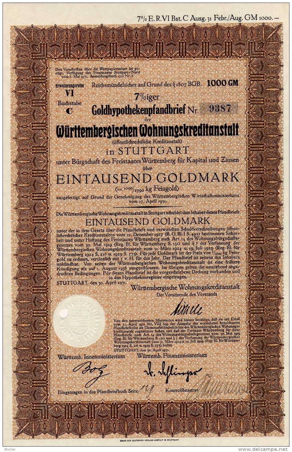 Deutschland Wohnungs-Kreditanstalt Württemberg1931 Feinst 1000 Goldmark öffentliche Aktie Stuttgart Document Of Germany - Industrie