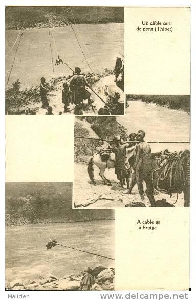 PAYS DIVERS- Ref 115- Tibet - Thibet - Un Cable Sert De Pont - Carte Bon Etat - - Tibet