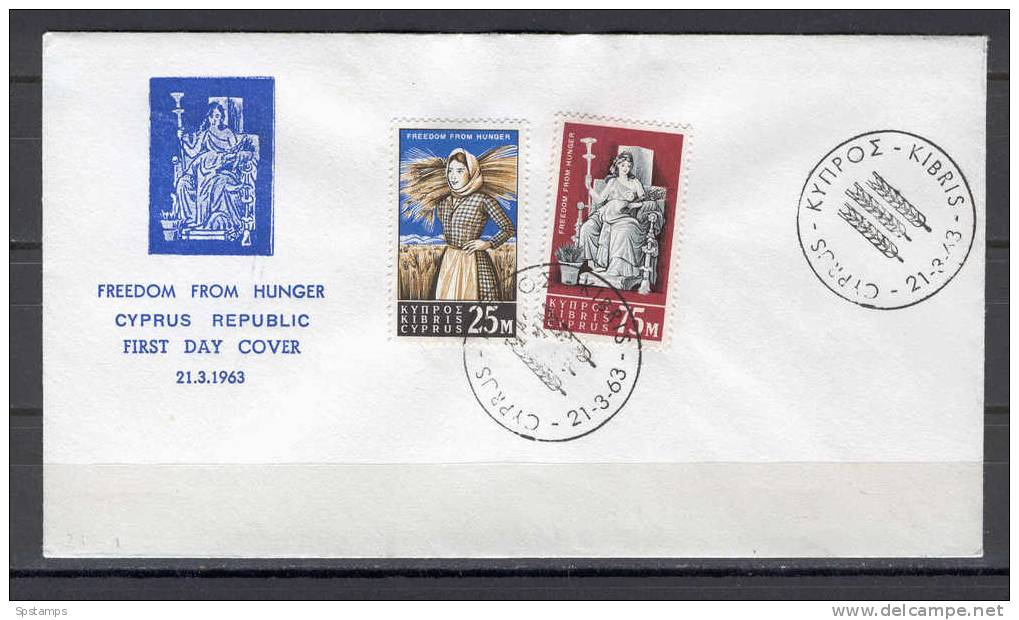Cyprus 1963 (Vl 40-41) Freedom From Hunger UNOFFICIAL FDC - Chypre (République)
