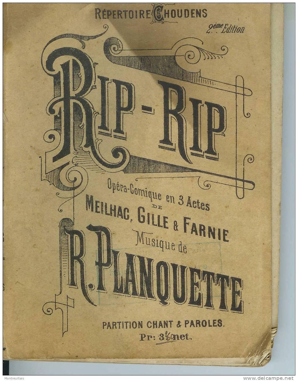 RIP-RIP, Opéra Comique MEILHAC, GILLE , FARNIE, Chant Et Paroles, 190 Pages - Opern