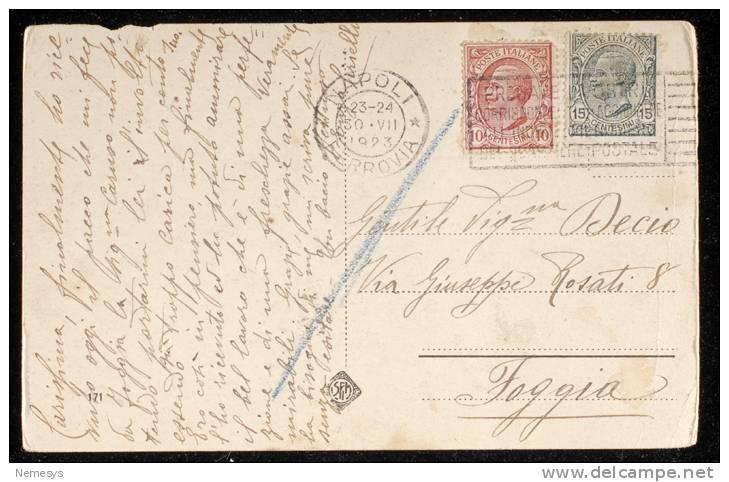 1923 NAPOLI IMMACOLATELLA STAZIONE MARITTIMA TIMBRO TARGHETTA PREGATE I VOSTRI.. - Napoli