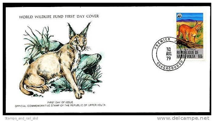 11692) Obervolta 1979 WWF Franklin Mint 136-138 - Michel 760-762 - 3 FDC - Wüstenluchs Wasserbock Pferdeantilope - Obervolta (1958-1984)