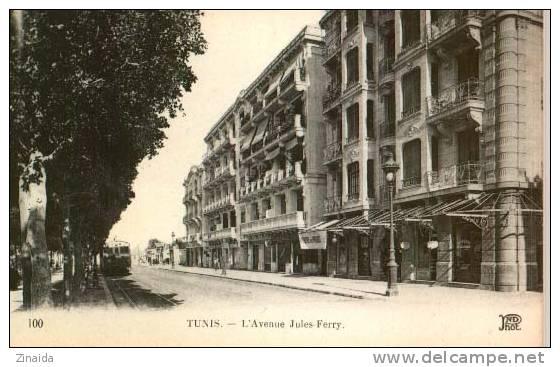 CPA DE TUNISIE - TUNIS - L AVENUE JULES-FERRY - Tunisie