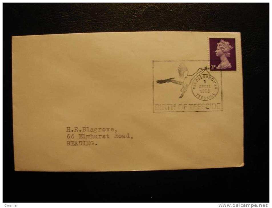 GB UK Birth Of Teesside Middlesbrough 1968 Cancel Stork Cigogne Storch Cigüeña Cover Enveloppe Sobre - Birds