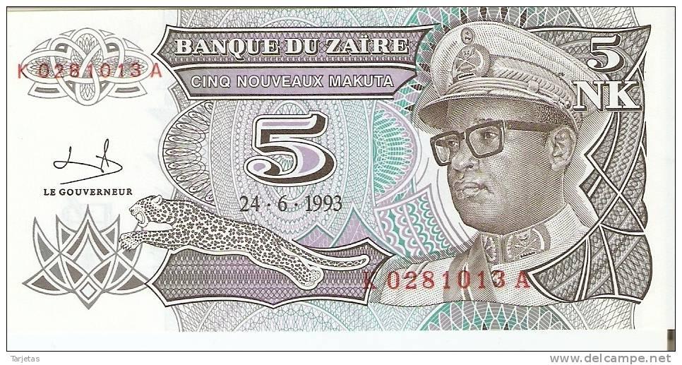 BILLETE DEL ZAIRE DE 5 MAKUTA (BANKNOTE) SIN CIRCULAR - Zaire